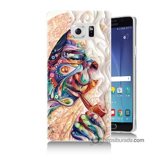 Teknomeg Samsung Galaxy Note 5 Kılıf Kapak Kağıt Sanatı Baskılı Silikon