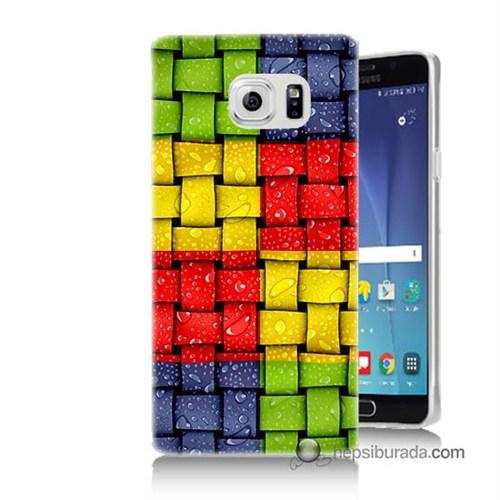 Teknomeg Samsung Galaxy Note 5 Kılıf Kapak Renkli Sargılar Baskılı Silikon