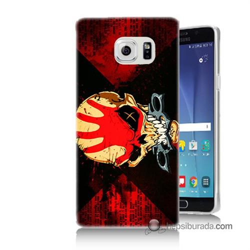 Teknomeg Samsung Galaxy Note 5 Kapak Kılıf Mıştalı Kurukafa Baskılı Silikon