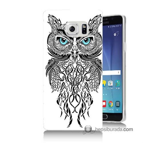 Teknomeg Samsung Galaxy Note 5 Kapak Kılıf Örgülü Baykuş Baskılı Silikon