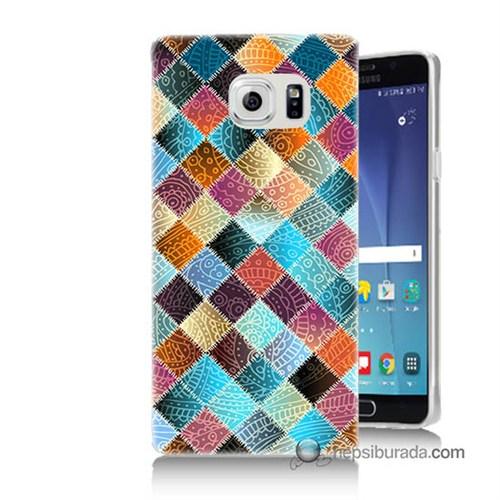 Teknomeg Samsung Galaxy Note 5 Kılıf Kapak Kırkyama Baskılı Silikon