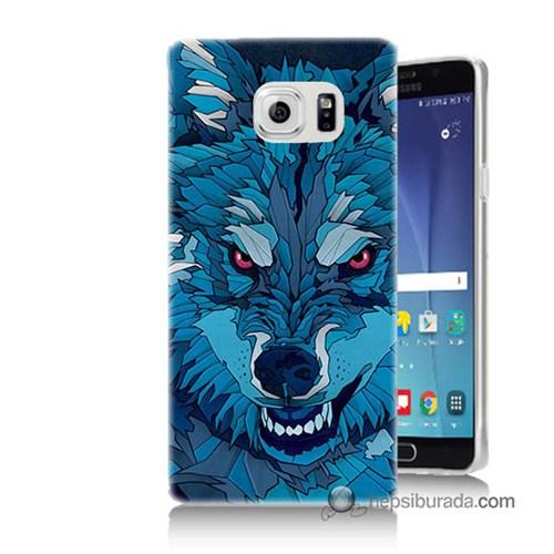 Teknomeg Samsung Galaxy Note 5 Kılıf Kapak Mavi Kurt Baskılı Silikon