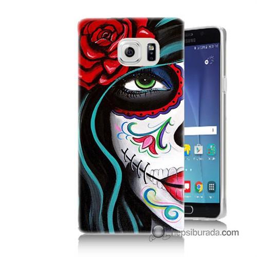 Teknomeg Samsung Galaxy Note 5 Kılıf Kapak Çiçekli Kız Baskılı Silikon