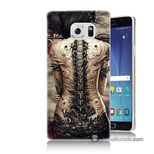 Teknomeg Samsung Galaxy Note 5 Kılıf Kapak Mekanik Kız Baskılı Silikon