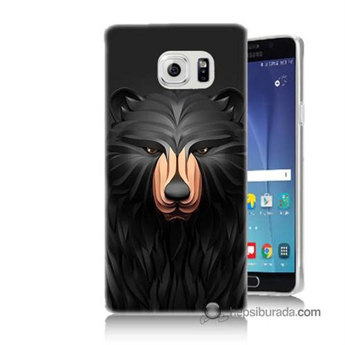 Teknomeg Samsung Galaxy Note 5 Kapak Kılıf Boz Ayı Baskılı Silikon