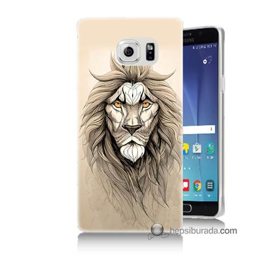Teknomeg Samsung Galaxy Note 5 Kılıf Kapak Beyaz Aslan Baskılı Silikon