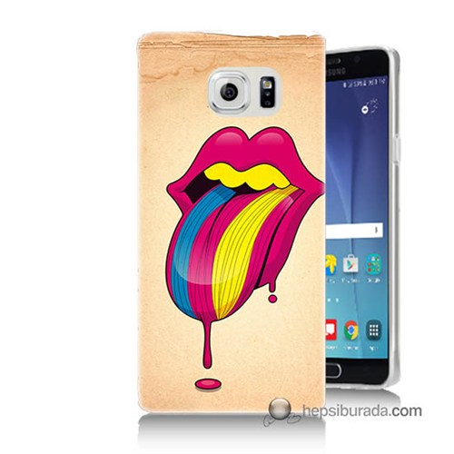 Teknomeg Samsung Galaxy Note 5 Kapak Kılıf Eriyen Dil Baskılı Silikon