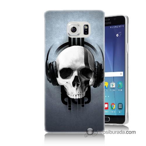 Teknomeg Samsung Galaxy Note 5 Kılıf Kapak Müzik Dinleyen Kurukafa Baskılı Silikon