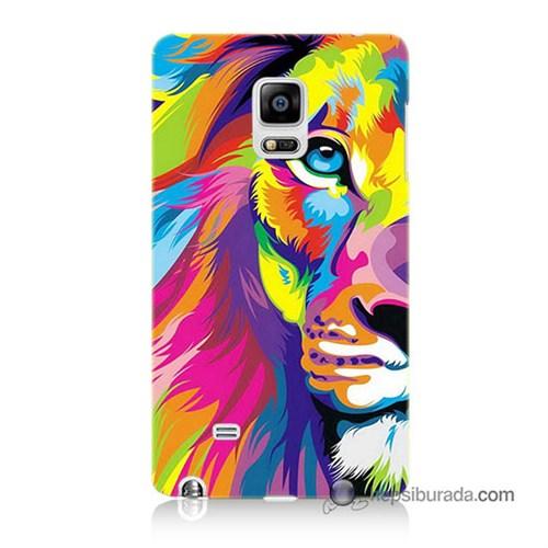 Teknomeg Samsung Galaxy Note Edge Kılıf Kapak Renkli Aslan Baskılı Silikon