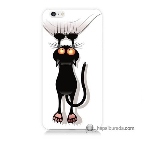 Teknomeg İphone 6 Kılıf Kapak Kara Kedi Baskılı Silikon