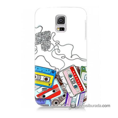 Teknomeg Samsung Galaxy S5 Mini Kapak Kılıf Kasetler Baskılı Silikon