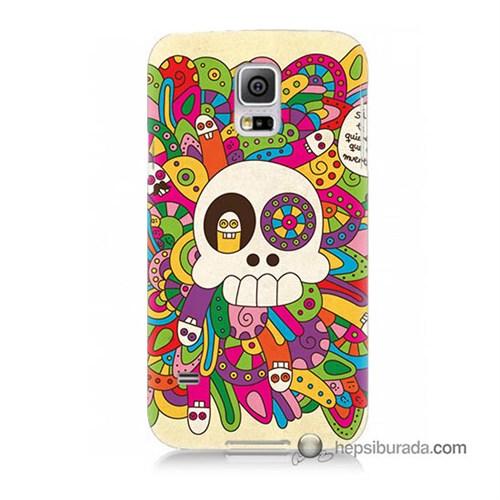 Teknomeg Samsung Galaxy S5 Mini Kapak Kılıf Örgülü Kurukafa Baskılı Silikon