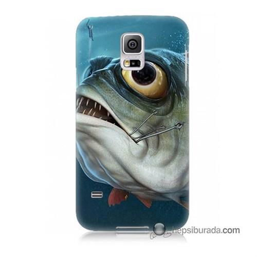 Teknomeg Samsung Galaxy S5 Mini Kapak Kılıf Balık Baskılı Silikon