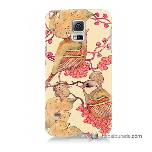 Teknomeg Samsung Galaxy S5 Mini Kılıf Kapak Kuşlar Baskılı Silikon