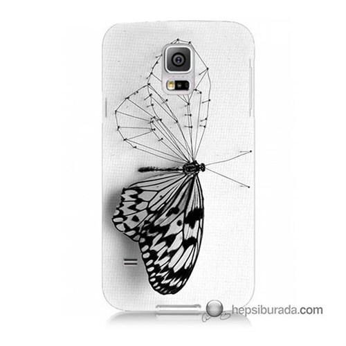 Teknomeg Samsung Galaxy S5 Mini Kapak Kılıf Kanatsız Kelebek Baskılı Silikon