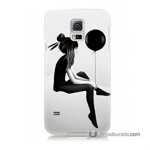 Teknomeg Samsung Galaxy S5 Mini Kapak Kılıf Balonlu Kız Baskılı Silikon