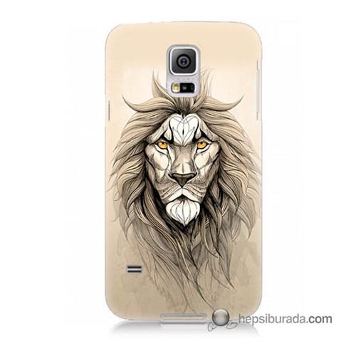 Teknomeg Samsung Galaxy S5 Mini Kılıf Kapak Beyaz Aslan Baskılı Silikon