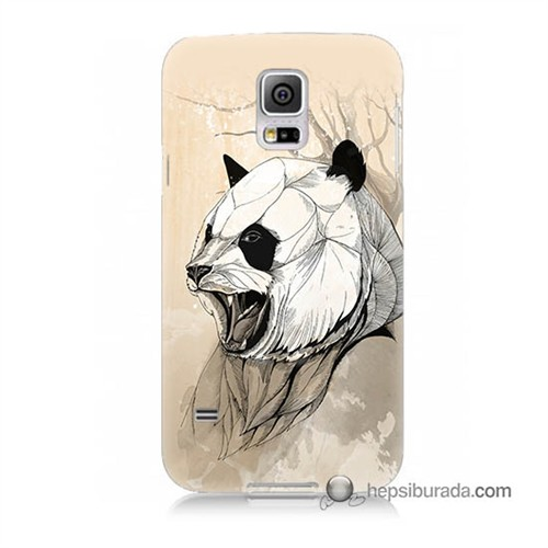 Teknomeg Samsung Galaxy S5 Mini Kapak Kılıf Kavgacı Panda Baskılı Silikon
