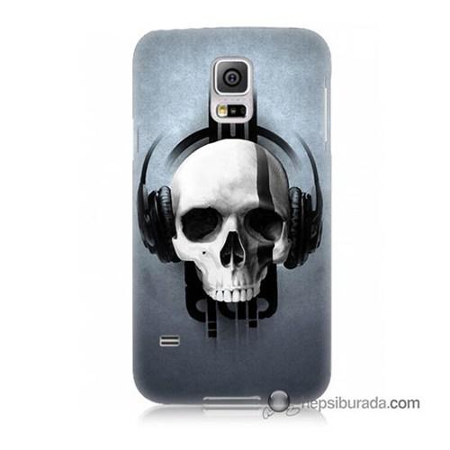 Teknomeg Samsung Galaxy S5 Mini Kılıf Kapak Müzik Dinleyen Kurukafa Baskılı Silikon