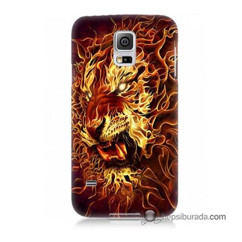 Teknomeg Samsung Galaxy S5 Kılıf Kapak Ateşli Aslan Baskılı Silikon