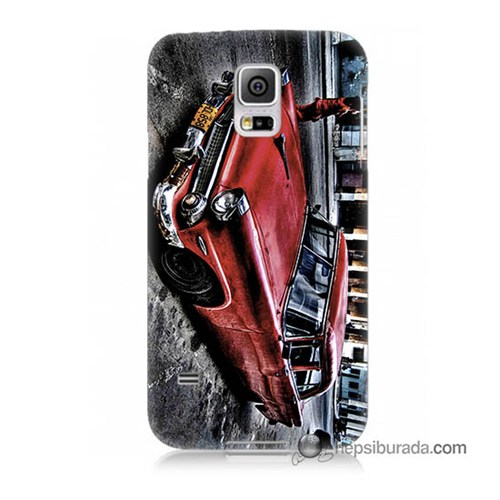 Teknomeg Samsung Galaxy S5 Kılıf Kapak Klasik Araba Baskılı Silikon