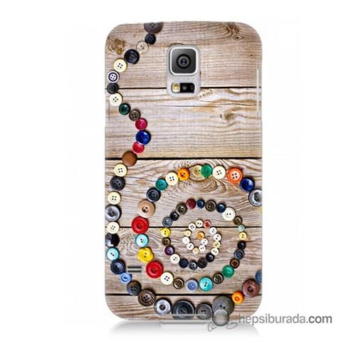Teknomeg Samsung Galaxy S5 Kapak Kılıf Düğmeler Baskılı Silikon