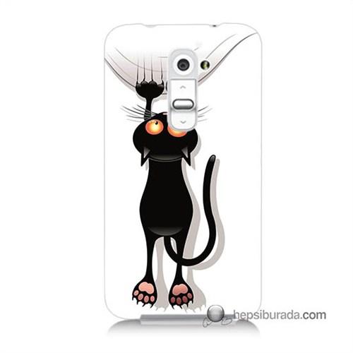 Teknomeg Lg G2 Kılıf Kapak Kara Kedi Baskılı Silikon