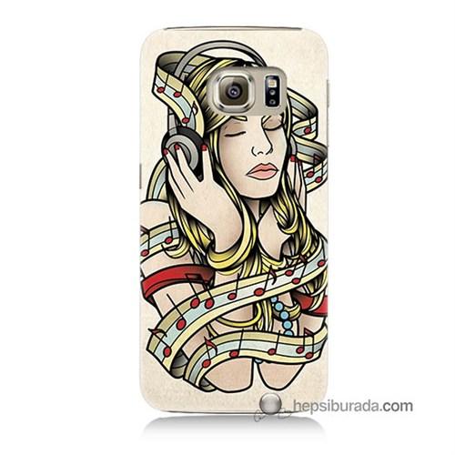 Teknomeg Samsung Galaxy S6 Kapak Kılıf Müzik Aşkı Baskılı Silikon