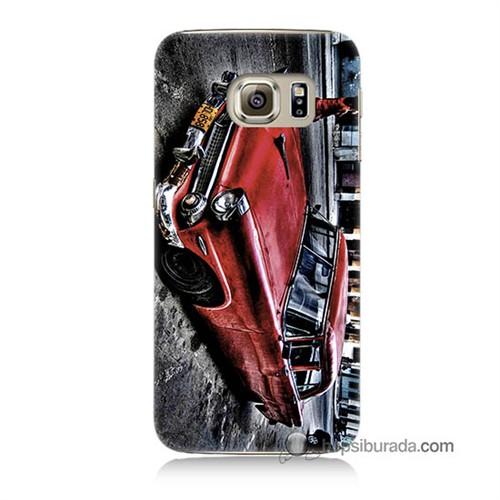 Teknomeg Samsung Galaxy S6 Kılıf Kapak Klasik Araba Baskılı Silikon