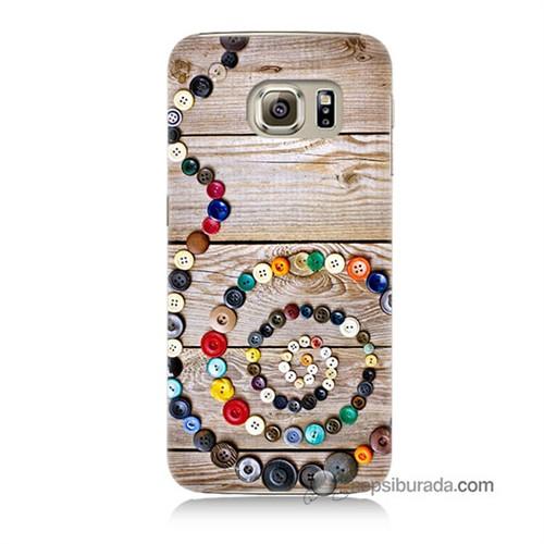 Teknomeg Samsung Galaxy S6 Kapak Kılıf Düğmeler Baskılı Silikon