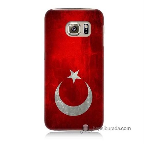 Teknomeg Samsung Galaxy S6 Kılıf Kapak Türkiye Bayrağı Baskılı Silikon