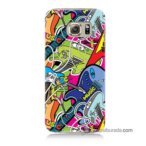 Teknomeg Samsung Galaxy S6 Kapak Kılıf Gitar Baskılı Silikon