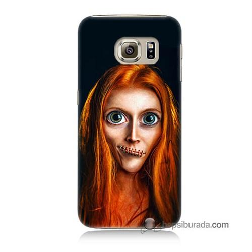Teknomeg Samsung Galaxy S6 Kılıf Kapak Zombie Kız Baskılı Silikon