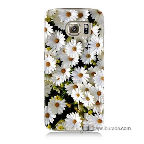 Teknomeg Samsung Galaxy S6 Kılıf Kapak Papatyalar Baskılı Silikon