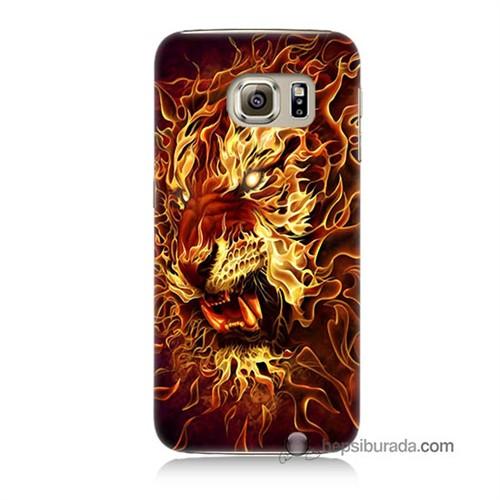 Teknomeg Samsung Galaxy S6 Kılıf Kapak Ateşli Aslan Baskılı Silikon