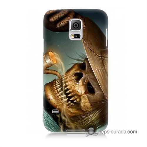 Teknomeg Samsung Galaxy S5 Kapak Kılıf Pipolu Kurukafa Baskılı Silikon