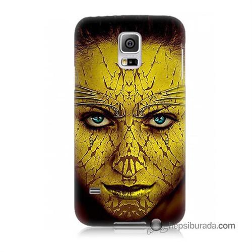 Teknomeg Samsung Galaxy S5 Kapak Kılıf Sarı Kız Baskılı Silikon