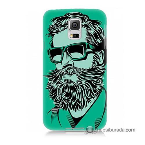 Teknomeg Samsung Galaxy S5 Kılıf Kapak Beard Art Baskılı Silikon