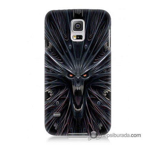 Teknomeg Samsung Galaxy S5 Kılıf Kapak Korku Canavarı Baskılı Silikon