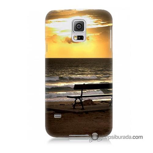 Teknomeg Samsung Galaxy S5 Kılıf Kapak Gün Batımı Baskılı Silikon