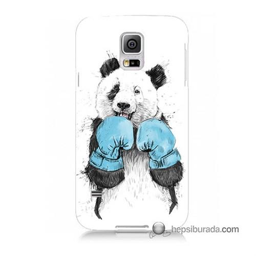 Teknomeg Samsung Galaxy S5 Mini Kılıf Kapak Boksör Panda Baskılı Silikon