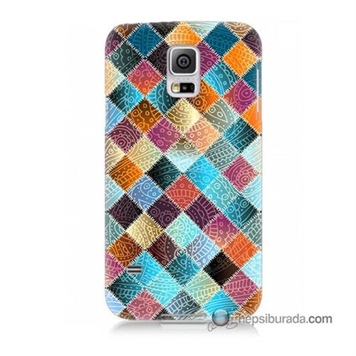 Teknomeg Samsung Galaxy S5 Mini Kılıf Kapak Kırkyama Baskılı Silikon
