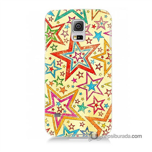 Teknomeg Samsung Galaxy S5 Mini Kılıf Kapak Yıldızlar Baskılı Silikon