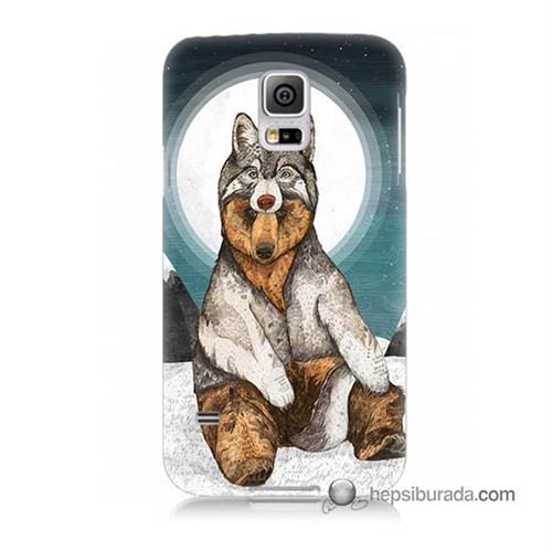 Teknomeg Samsung Galaxy S5 Mini Kapak Kılıf Postlu Ayı Baskılı Silikon