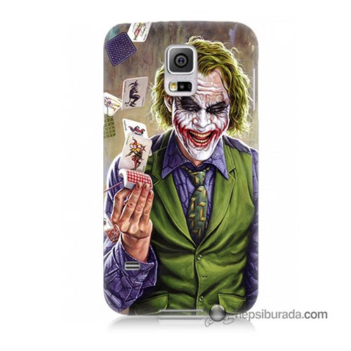 Teknomeg Samsung Galaxy S5 Mini Kılıf Kapak Kartlı Joker Baskılı Silikon