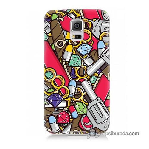 Teknomeg Samsung Galaxy S5 Mini Kılıf Kapak Cephane Baskılı Silikon