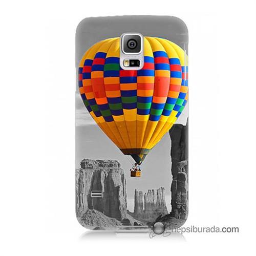 Teknomeg Samsung Galaxy S5 Mini Kılıf Kapak Renkli Uçan Balon Baskılı Silikon