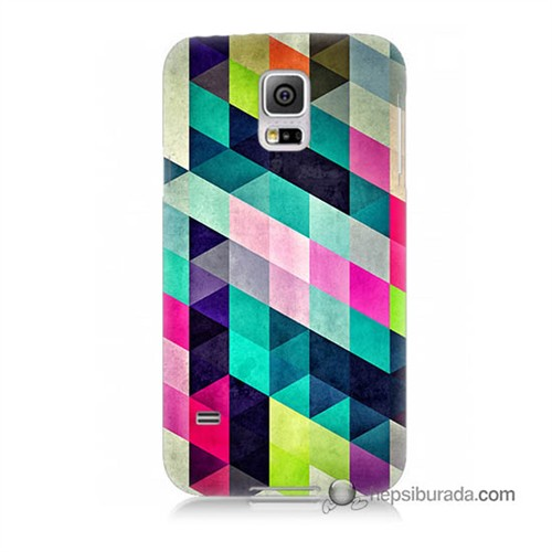 Teknomeg Samsung Galaxy S5 Mini Kılıf Kapak Mozaikler Baskılı Silikon