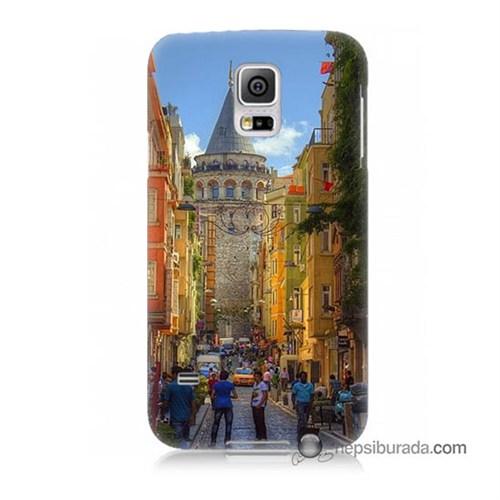 Teknomeg Samsung Galaxy S5 Mini Kapak Kılıf Galata Kulesi Baskılı Silikon