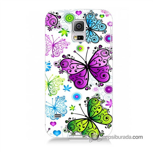 Teknomeg Samsung Galaxy S5 Mini Kapak Kılıf Renkli Kelebekler Baskılı Silikon